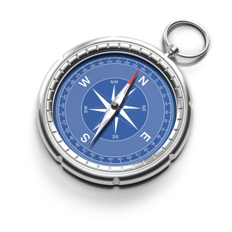 The first thing to note about a compass is that the red part of the direction needle always faces North.