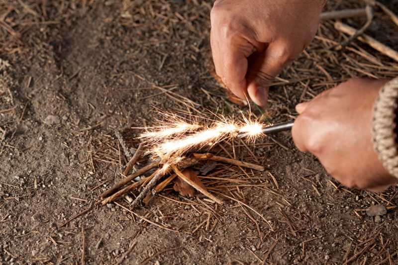 Get dry fire starting materials: you can't just light up a piece of wood no matter how dry it is, you will need fire starting materials like dry tinder, dry wood shavings, dry weed.