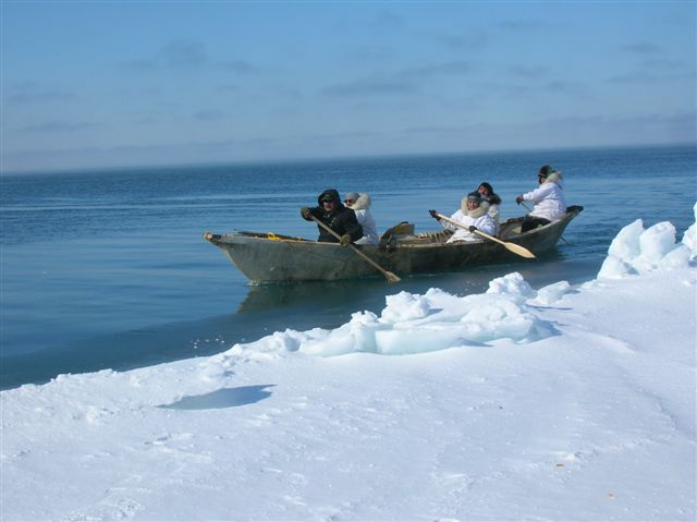 A traditional whaling crew in Alaska