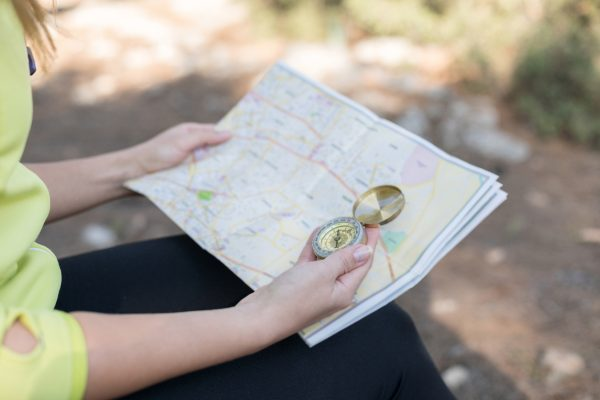 Always carry a traditional map and compass when hiking out in the woods.