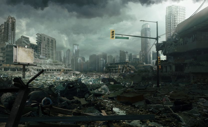 A cinematic cityscape depicting a destroyed city.