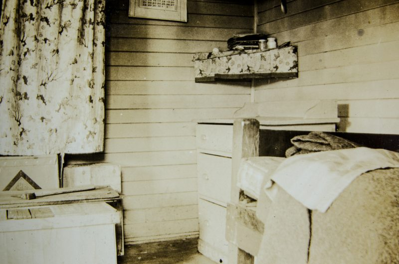 The interior of a trapper's cabin in Alaska from the early 1930s