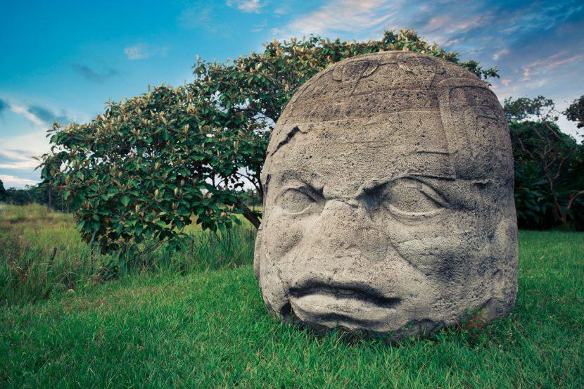 Olmec Colossal Head in the ancient city of La Venta