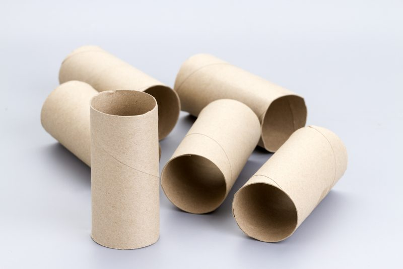 Take your toilet paper, normal paper, and cardboard rolls and stuff them together