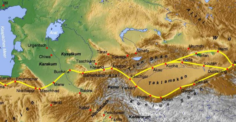 Central Asia during Roman times, with the first Silk Road