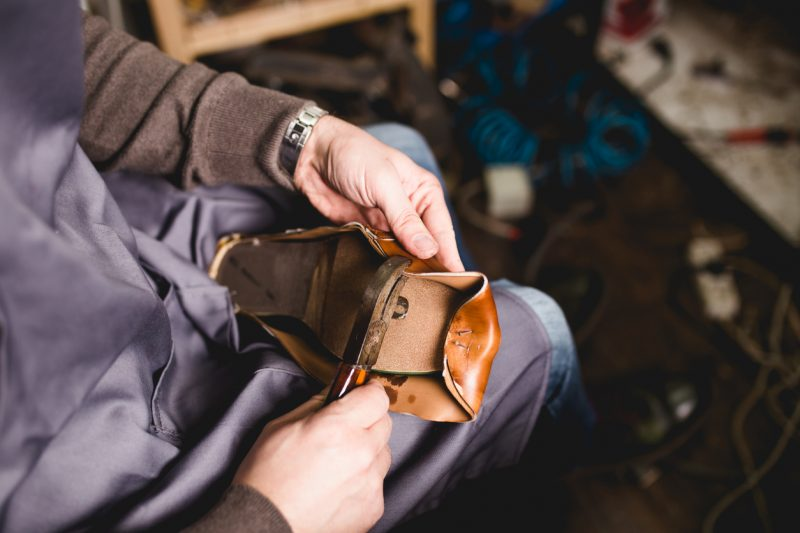 The shoe's upper was actually the easiest part to make as the cobbler was working with softer, more flexible leather