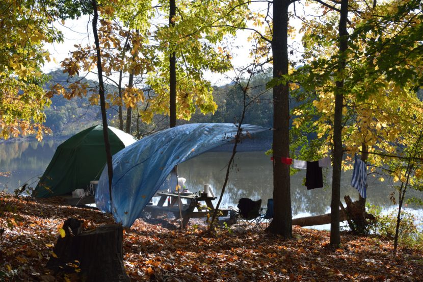 Camping tent at Stonewall Jackson Lake State Park, Roanoke, West Virginia, USA