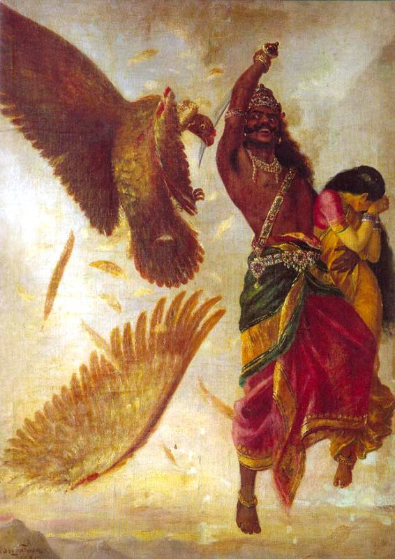 He is struck down and slain by her captor, and the statue now sits precisely where, according to myth, the eagle fell