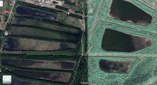 Pictures of the waste storage ponds on Google maps