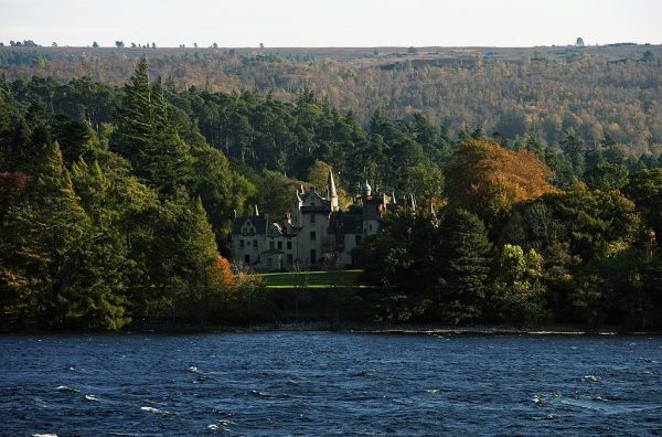 Aldourie castle on the shore of Loch Ness, Highlands, Scotland