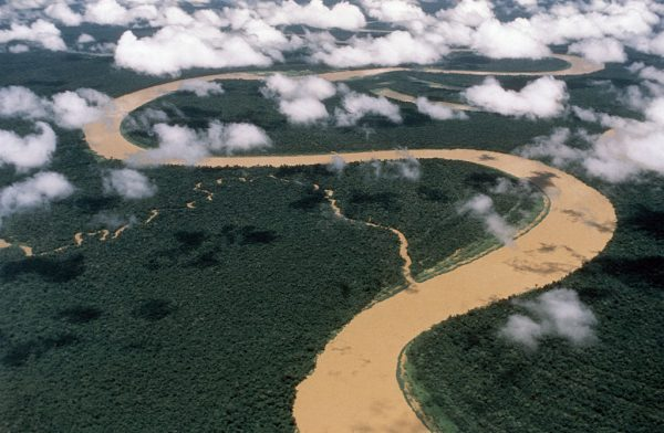 The Japura river on the border between Brazil and Colombia, the river meanders through virgin forest and flows into the Solimoens, the Brazilian section of the Amazon. (Photo by COLLART Hervé/Sygma via Getty Images)