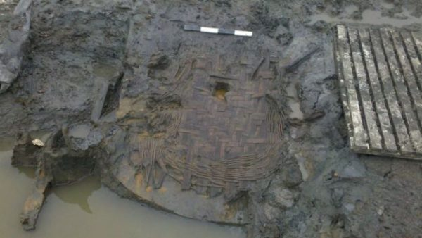 The remains of an oak and willow basket were also discovered. Credit: Oxford Archaeology