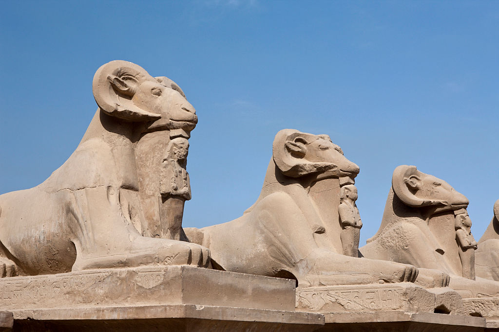 Row of Ram-headed Sphinxes at Karnak Temple, Luxor, Egypt