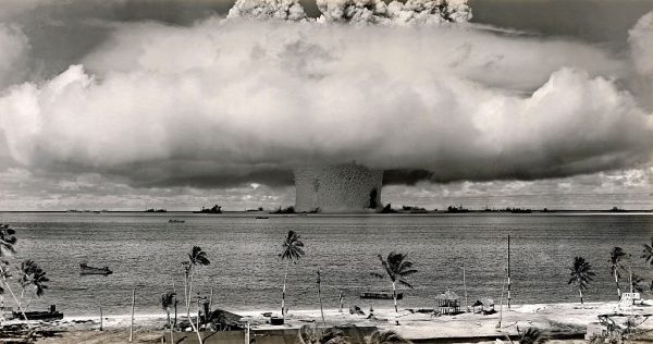 The Baker test during Operation Crossroads, a series of two nuclear weapons tests conducted by the United States at Bikini Atoll. The purpose of the operation, which included two shots, ABLE and BAKER, was to investigate the effect of nuclear weapons on naval warships. Mushroom-shaped cloud and water column from the underwater Baker nuclear explosion. Photo taken from a tower on Bikini Island, 3.5 miles (5.6 km) away. Marshall Islands, Pacific. (PHoto by Galerie Bilderwelt/Getty Images)