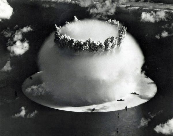 The Baker test during Operation Crossroads, a series of two nuclear weapons tests conducted by the United States at Bikini Atoll.  The purpose of the operation, which included two shots, ABLE and BAKER, was to investigate the effect of nuclear weapons on naval warships. Mushroom-shaped cloud and water column from the underwater Baker nuclear explosion. Marshall Islands, Pacific. (PHoto by Galerie Bilderwelt/Getty Images)