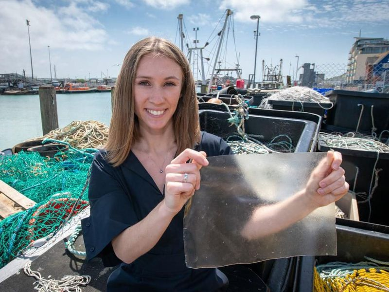 Lucy Hughes holds a piece of MarinaTex. Credit: Dyson