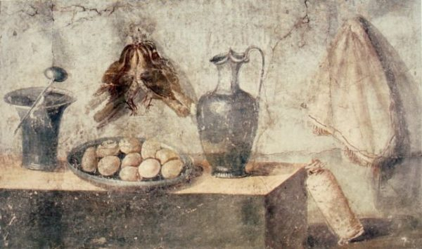 Fresco still life with eggs, birds and bronze dishes from Pompeii. Height: 74 cm. 50-79 BCE