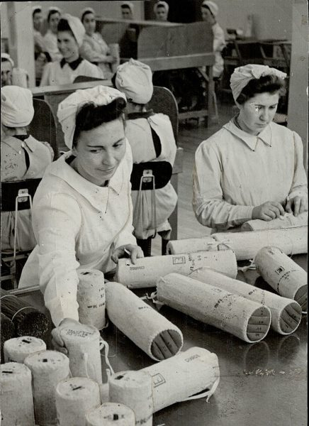 Handle With Care is the motto of the girls as they pack cordite is silk bags in a munitions plant. One-third of the workers are women. (Photo by Toronto Star Archives/Toronto Star via Getty Images)