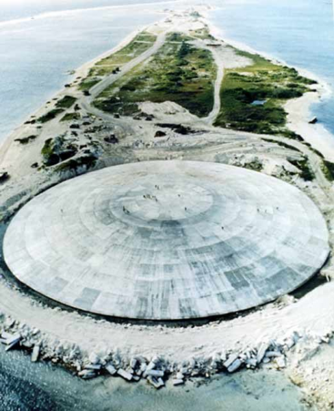 Looking as if it were a downed space vessel, the 18-inches-thick dome on Runit Island was supposed to prevent the giant pile of radioactive debris from spilling into the oceans.
