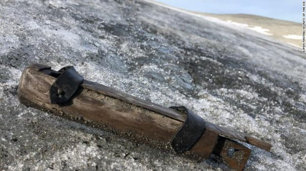 Tinderbox, found on the surface of the ice at Lendbreen during the 2019 fieldwork. Not radiocarbon-dated yet. Photo: Espen Finstad, secretsoftheice.com