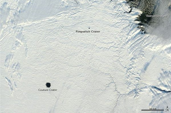 The crater is estimated to be 430 ± 25 million years old: earthobservatory.nasa.gov