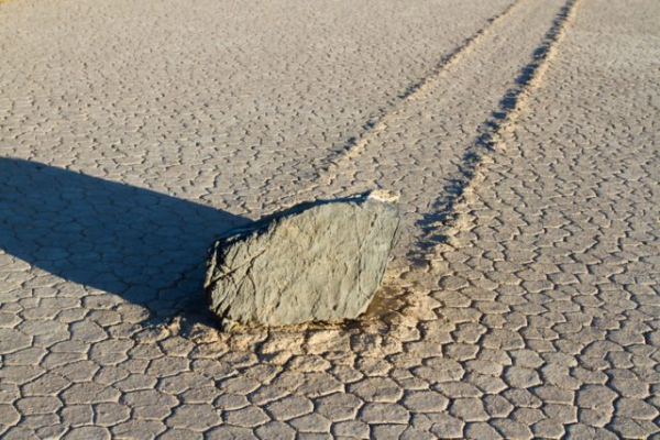 The Racetrack Playa is located above the northwestern side of Death Valley,