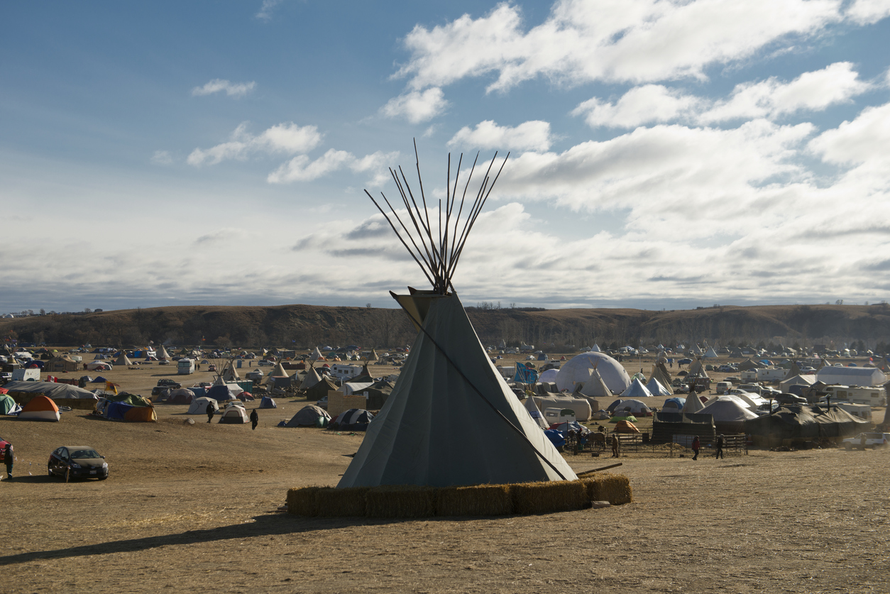 Cannon Ball, ND, USA - November 18, 2016: A Teepee overlooking the the Oceti Sakowin Dakota Access Pipeline resistance camp near the Standing Rock Sioux reservation. The Camp numbered in the thousands before temperatures dropped the next day.