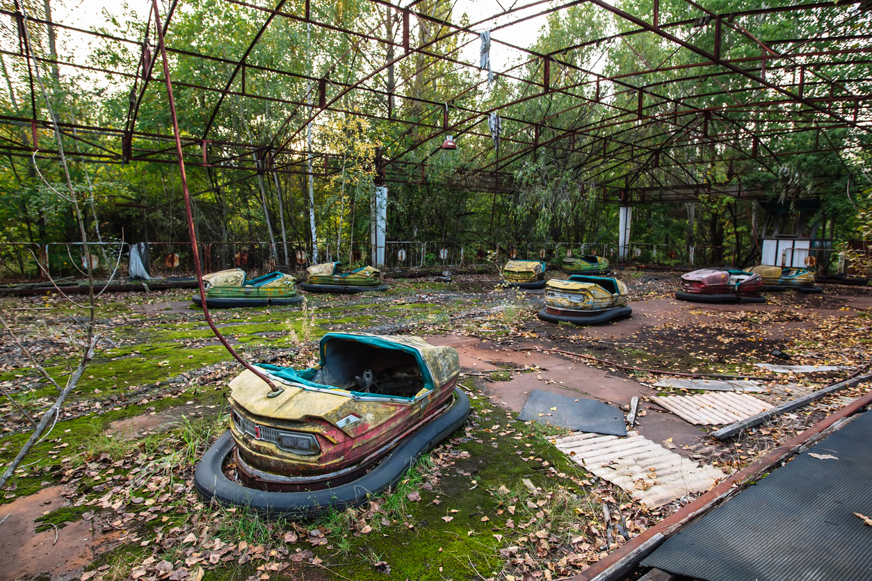 Amusement park in Pripyat. exclusion Zone of Chernobyl ghost city, nuclaer catastrophe 1986