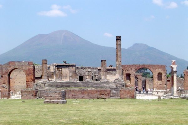 Mount Vesuvius in the background