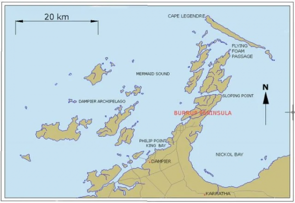 Map of Burrup peninsula in Western Australia