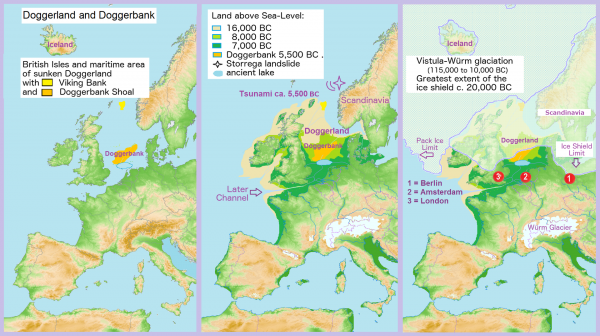 Map showing hypothetical extent of Doggerland from Weichselian glaciation until the current situation. Francis Lima -0 CC BY-SA 3.0
